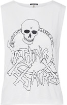 R 13 Nothing Sacred Printed Cotton And Cashmere-blend Jersey Tank - Off-white
