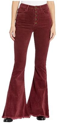 Show Me Your Mumu Cam Cam Button Up Bells (Cranberry Corduroy) Women's Casual Pants