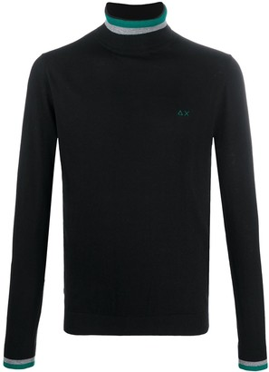 Sun 68 Embroidered Logo Roll-Neck Jumper