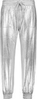 Norma Kamali Metallic cotton-blend track pants