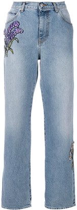 Alexander McQueen floral embroidered straight-leg jeans