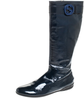 Gucci Dark Teal Patent Leather GG Knee Boots Size 41