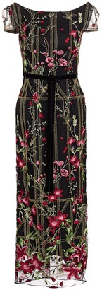 Marchesa Embroidered Floral Cocktail Dress