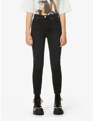 RE/DONE Cropped straight-leg high-rise stretch-denim jeans