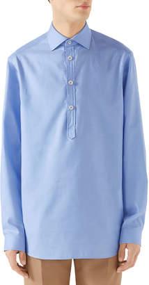 Gucci Men's Quarter-Placket Oxford Shirt