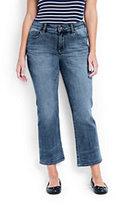 Lands' End Women's Plus Size Mid Rise Denim Crop Pants-Bayshore Indigo Wash