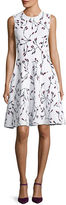 Carolina Herrera Sleeveless Crewneck Floral-Print Short Dress