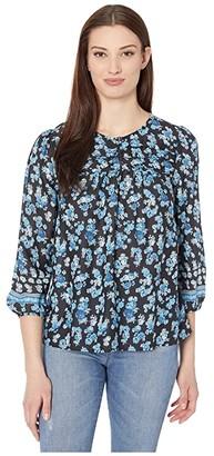 Lucky Brand 3/4 Sleeve Crew Neck Printed Alexis Popover Top (Black Multi) Women's Clothing
