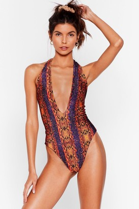 Nasty Gal Womens Morning Sun Snake Plunging Swimsuit - Orange
