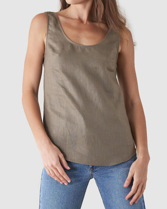 Amelius - Women's Green Sleeveless Tops - Bridgette Linen Top - Size One Size, S at The Iconic