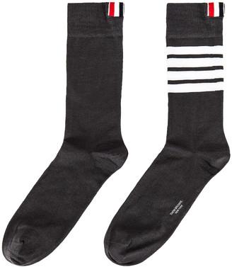 Thom Browne 4 Bar Stripe Mid Calf Socks in Dark Grey | FWRD