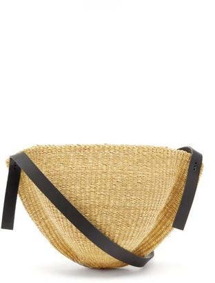 Ines Bressand - N.1 Large Oval Woven-straw Shoulder Bag - Black Multi