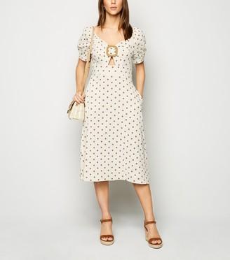 New Look Blue Vanilla Spot Buckle Midi Dress
