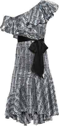 Temperley London Eliska One-shoulder Ruffled Metallic Fil Coupe Dress