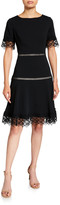 N. Shani Lace-Trim Crepe Fit-and-Flare Dress
