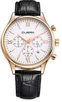 Yunanwa Luxury Watches for Men Analog Casual Quartz Black Crocodile Faux Leather Wrist Band Business Waterproof