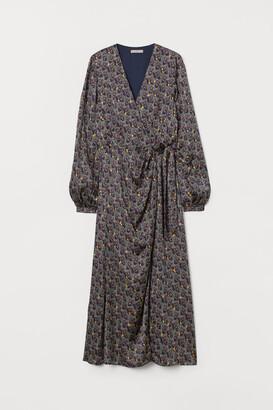 H&M Draped Wrap-front Dress - Blue