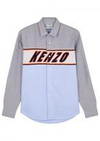 Kenzo Blue Logo-intarsia Cotton Shirt