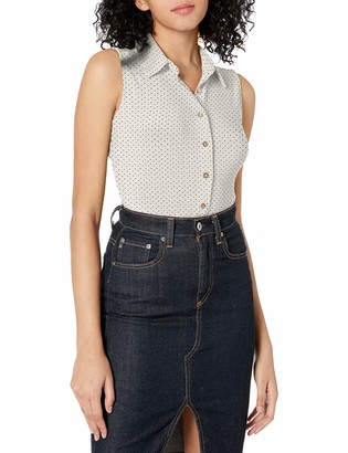 Tommy Hilfiger Women's Micro Dot Collared Button Down Sleeveless Knit Top
