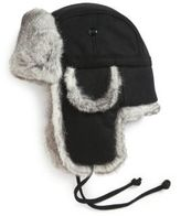Crown Cap Rabbit Fur-Trimmed Aviator Hat