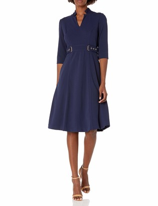 Tahari ASL Women's Elbow Sleeve Star Neck Fit and Flare Dress