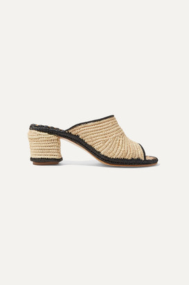 Carrie Forbes Rama Two-tone Woven Raffia Mules - Beige