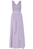 Quiz Lilac V Neck Diamante Embellished Waterfall Maxi Dress