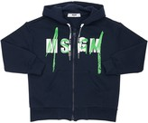 MSGM Logo Print Cotton Hooded Zip Sweatshirt