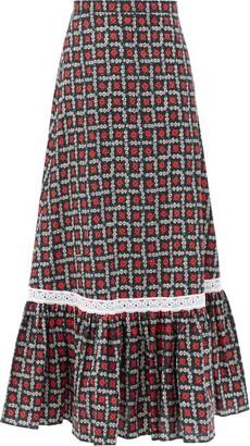 Miu Miu Floral-print Tiered Cotton Midi Skirt - Black Print
