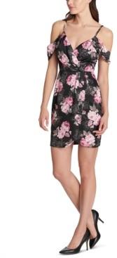 GUESS Cold-Shoulder Floral-Print Dress