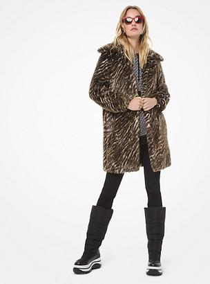MICHAEL Michael Kors MK Safari Faux Fur Coat - Dark Camel - Michael Kors