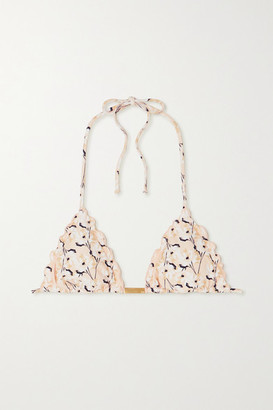 Vix Spring Ripple Ruffled Floral-print Triangle Bikini Top - Beige