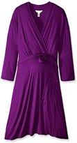 Three Seasons Maternity Women's Maternity 3/4 Sleeve Surplice Solid Dress Plus