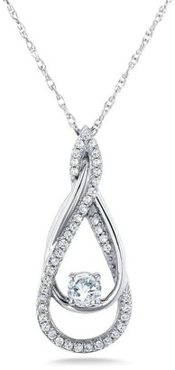 Annello by Kobelli 10k White Gold 1/4ct TDW Fancy Infinity Looping Pendant and Chain
