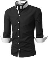 Whatlees What Lees Mens Formal Solid Long Sleeve Button Down Dress Shirts -M