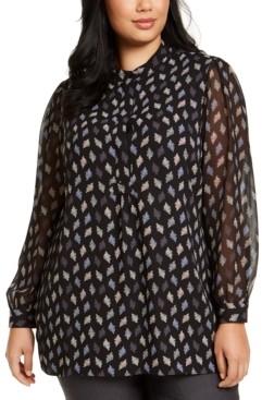 Anne Klein Plus Size Printed Sheer-Sleeve Top