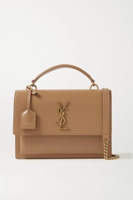 Saint Laurent Sunset Medium Leather Shoulder Bag - Beige