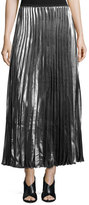 Hiche Metallic Accordion-Pleated Maxi Skirt
