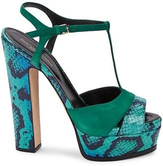 Sergio Rossi Crocodile-Print T-Strap Sandals