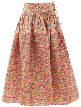 Horror Vacui Toga Pintucked Floral-print Cotton Skirt - Red Multi