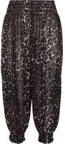 Norma Kamali Smocked Leopard-Print Chiffon Tapered Pants