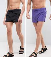 Asos Swim Shorts 2 Pack In Purple And Black In Super Short Length
