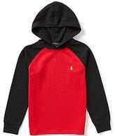 Ralph Lauren Big Boys 8-20 Waffle-Knit Color Block Pullover Hoodie