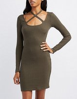 Charlotte Russe Ribbed Tie Neck Bodycon Dress