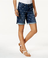 Style&Co. Style & Co Embroidered Denim Shorts, Only at Macy's
