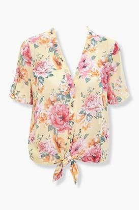 Forever 21 Floral Tie-Hem Top