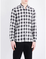 The Kooples Fitted Leather-detail Band-collar Pure-cotton Shirt