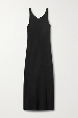 Leset Alison Ribbed-knit Midi Dress - Black