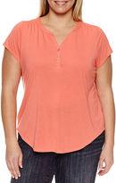 Claiborne Short Sleeve Cap Sleeve Henley Shirt Plus