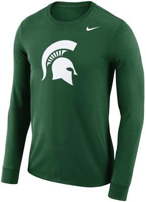 Nike Men's Green Michigan State Spartans School Logo Performance Long Sleeve T-Shirt
